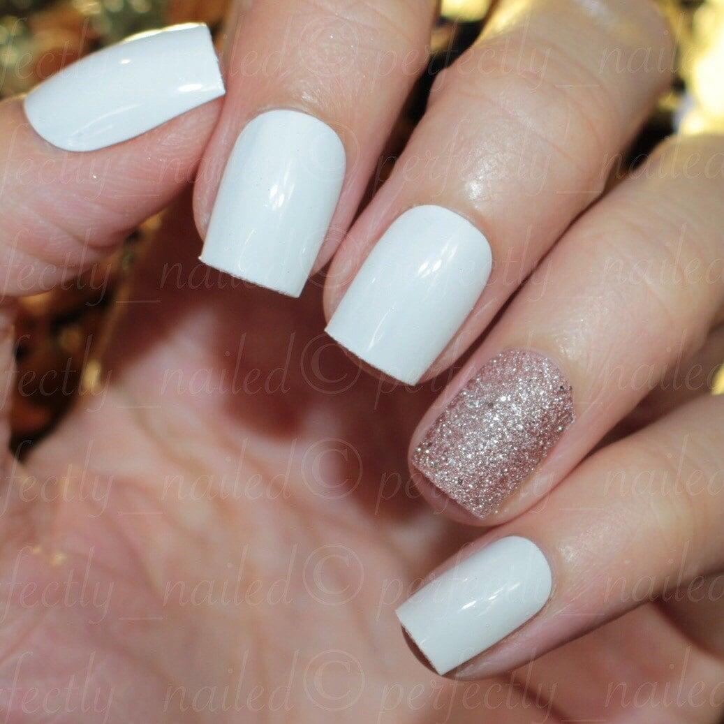 white and light rose glitter ring finger • Handpainted False Nails ...
