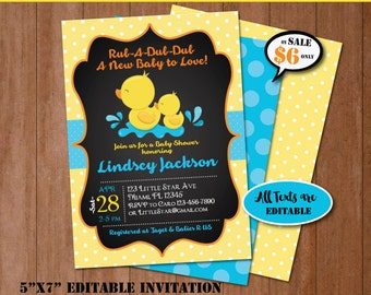 Rubber Duck Baby Shower Invitation Self Editing Chalkboard Rubber Ducky  Baby Shower Invite