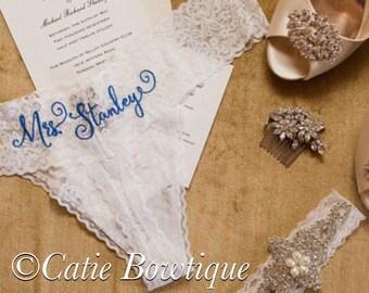 Personalized Bridal Thong/ White Lace  monogram thong/ something blue/ wedding underwear/ bridal gift/ bridal panty/ lingerie/boudoir