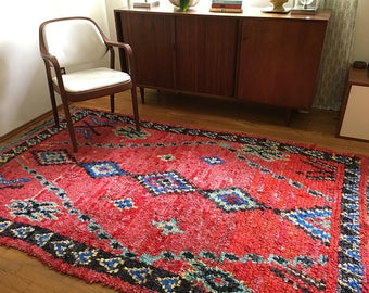 """FREE SHIPPING!!! """"CASBAH"""" Boho Chic Rug Vintage Moroccan Boucherouite in Multi Colors (Los Angeles)"""
