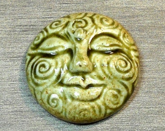 Large Spiral Face Ceramic Cabochon Stone in Earthy Green
