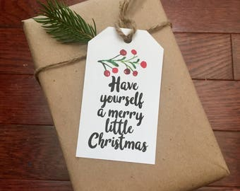 Christmas gift tag Merry little Christmas Instant Download Printable Holly gift tag Merry Christmas