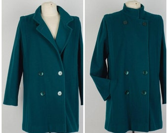 teal green 80s to 90s vintage pea coat wool double breasted ladies jacket medium to large