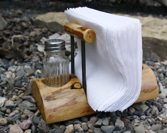 Rustic Log Napkin, Salt and Pepper Holder