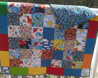 Dinosaur quilt, Baby Crib Quilt