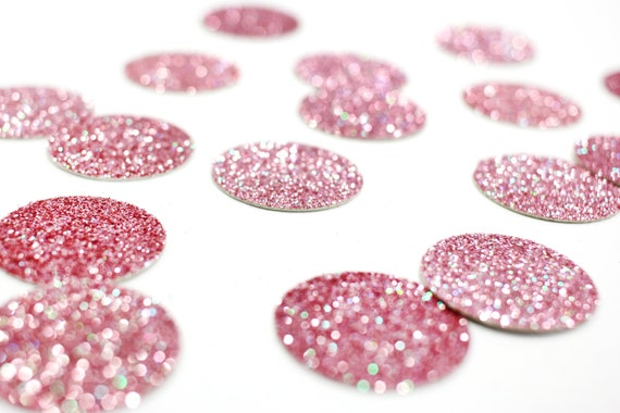 "Blush Pink Glitter Circle Confetti - 1"" Confetti. Wedding. Bachelorette Party. Bridal Shower. Baby Shower. Engagement. First Birthday."