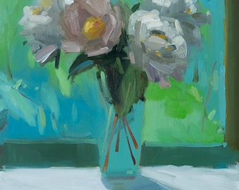 June Peonies Archival Print, Reproduction of Amy Brnger Original Oil Painting