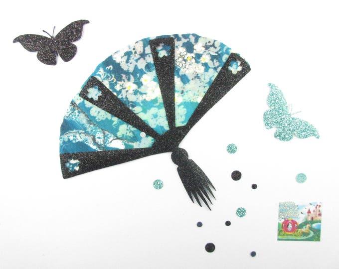 Iron on patch applique fusing liberty fan and 2 butterflies in liberty Pamela turquoise Judith appliqué iron range we fan