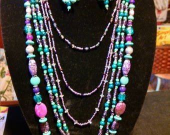 Purple and aqua multi strand necklace and earrings set