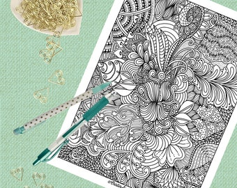 Printable Coloring Page, Adult Coloring Page, Zendoodle, Floral Flower Design, Coloring Book, Zentangle, Doodle, Gifts for Her, Printables
