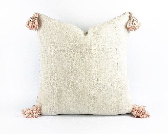 Antique French Linen And Blush Pink Tassel Pillow Cover 20x20