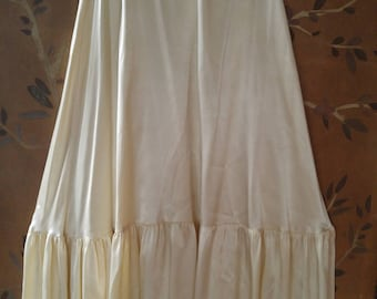 70s Gunnies by Jessica satin cream maxi full skirt