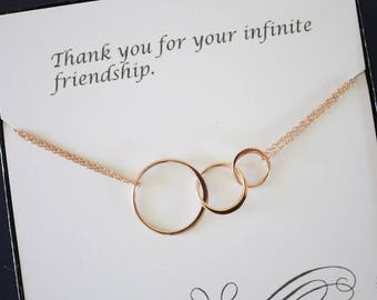Rose Gold Infinity Karma Necklace, Best Friend, Mom Necklace, BFF, Infinite Friendship, Rose Gold Filled, Karma, Circles, Thank you card