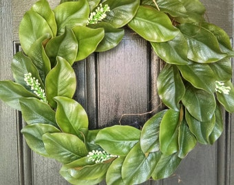 Mothers Day From Daughter, Size 18 or 24 Inches, Greenery Wreath, Kitchen Wall Art, Kitchen Decor, Magnolia Wreath, Leaf Door Decor
