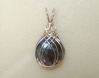 "1 5/8"" Blue Flash Coin Labradorite SLIDE Pendant 14K Rose or Yellow Gold Filled or Sterling Silver"