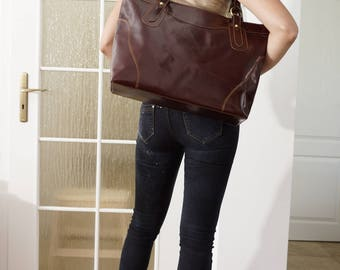 """Dark Brown Leather tote bag ,leather handbag, leather cross-body bag, extra-large leather laptop purse Nora 17"""""""
