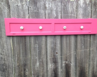 Pink - Salvaged Wood Shutter with Knobs