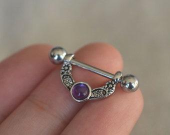 TWO nipple rings amethyst gemstone nipple rings nipple piercing,