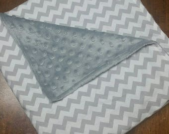 """Cozy Weighted Blanket - Grey Chevron Small 32""""x56"""" (3-14 lbs) Soft Minky - custom weighted"""