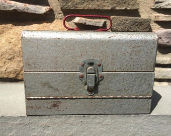 Vintage Silver Storage Box Metal...Garage. Toolbox. Tackle Box. Fishing. Silver. Red. Gear. Container. Ruler. Old.