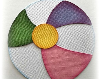 one 3 inch round beach ball die cut  premade paper piecing 3d die cut scrapbooking by my tear bears kira