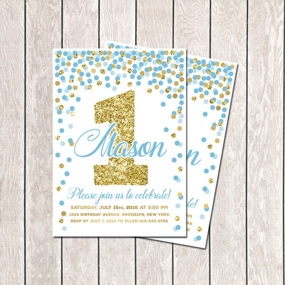Blue gold confetti birthday invitation first birthday blue gold confetti birthday invitation first birthday invitation boy birthday invitation printable invitations blue gold invitation any age filmwisefo