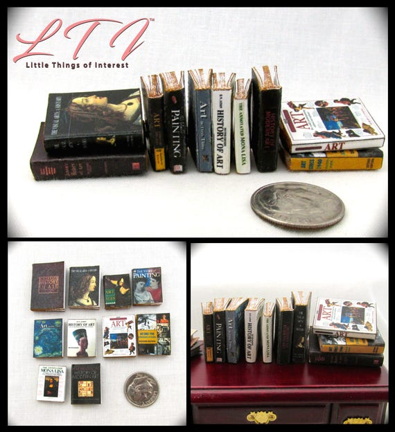 10 ART HISTORY Miniature Books Set 1:12 Scale Dollhouse Prop Faux Books Fill a Bookshelf Library Books