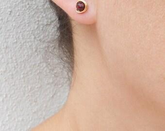 Gold garnet earrings, Garnet stud earrings, January birthstone