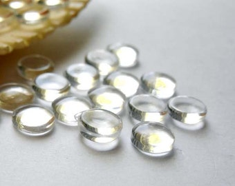50 Clear Glass Cabochons 6mm - 14-10