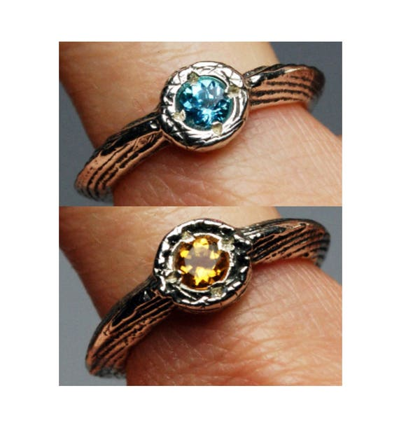 Double Sided Citrine and Blue Topaz Lucky Charm Ring