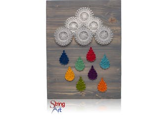 DIY String Art Kit - DIY Kit, Crafts Kit, String Art Raindrops, Colorful Raindrops, Decor, Includes String, Nails, Instructions, Pattern