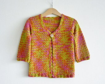 Summer cardigan for toddler - age 2 - 3 years - pink, orange, green - crochet - merino wool, silk & yak - fruity colors