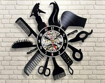 Hairdresser gift, Wall clock made of vinyl record, Beauty salon decor, Hair salon wall art, Hair salon decor, Gifts for hairdresser, Salon