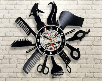Hairdresser gift Wall clock made of vinyl record Beauty salon decor Hair salon wall art Hair salon decor Gifts for hairdresser Salon & Beauty salon decor | Etsy