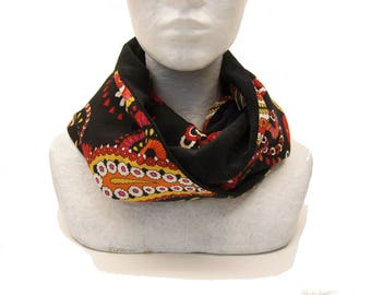 infinity scarf black velvet and paisley , loop scarf for women boho style