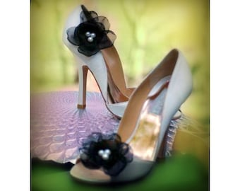 Black & Pearls Shoe Clips by Sofisticata. Special Occasion Wedding, Bride Bridal Bridesmaid, Prom Graduation. ALSO Red Ivory White Teal Blue