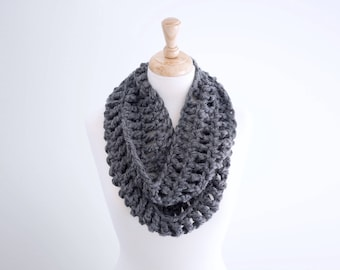 The Lacegate Infinity Scarf  x  Shown In Charcoal  x  Lacy Eternity Scarf