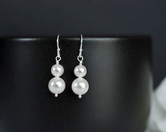 Bridal Pearl Earrings, Duo Swarovski Pearl on Sterling Silver Earrings, Bridal Earrings, Bridesmaids Gift