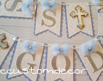 Baptism Boy Banner-Baptism Banner-Baptism Decorations-Its a Boy banner-Baby shower boy banner-I am one boy  banner-Birthday Banner