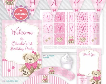 Teddy Bear - Pink editable printable party decoration package - INSTANT DOWNLOAD - A4 & LETTER