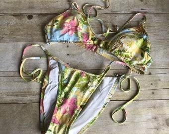 Vintage Floral Bathing Suit - Size Medium/Large - Bikini - Swimsuit - String - Retro - Swim Suit - Yellow - Blue