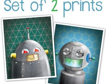 Set of 2 Robot Art Prints - Robot wall art - kid decor - art for boys room - 8 x 10 print - robot nursery art