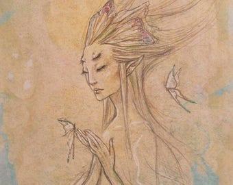 Fairy Drawing Original Fantasy Art Pencil Sketch Gel Pen Butterflies Fae Sketchbook drawing, original sketch