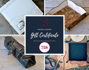 Mother's Day Gift, Gift Certificate, Gift Card, 75 Dollars voucher, last minute gift, gift coupon, leather gift, personalized gift