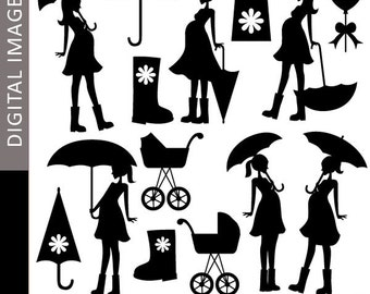Pregnant woman Clipart - Mom To Be and Umbrella Silhouette 07347 - Digital clip art - commercial use for personalized invites, cards