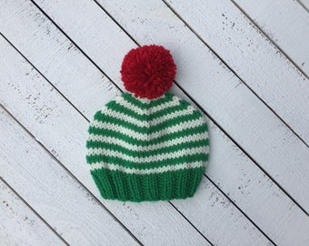 Striped Christmas Baby Beanie, Knit Holiday Baby Hat, First Christmas Outfit, Holiday Hat for Newborn, Photography Prop, Infant Pom Pom Hat