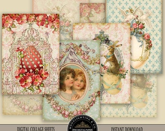 ATC VINTAGE EASTER Printable Tags Digital Aceo Collage Sheet Download and Print Paper Crafts Card 521a