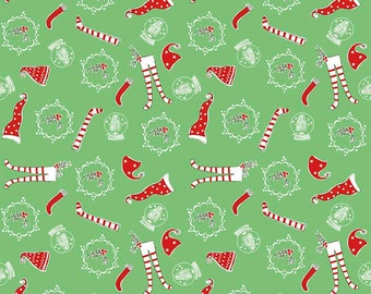 Pixie Socks Green Christmas Fabric by Tasha Noel for Riley Blake Designs, Christmas Stockings and Caps
