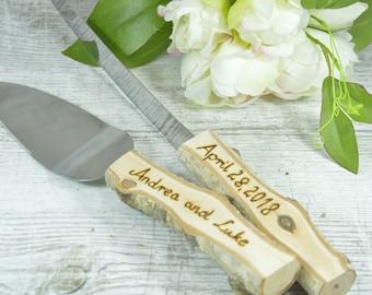 Wedding Knife Set,cake Knife Set,cake Serving Set,wedding Cake Server,wedding  Cake Knife,rustic Wedding,personalized Server,wedding Gift