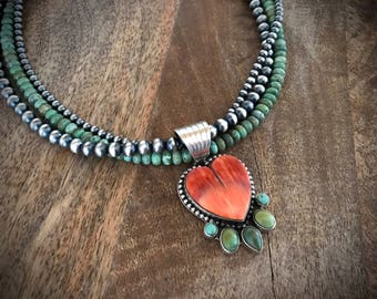 McGinnis turquoise heart pendant Navajo Pearl necklace Dan Dodson orange Spiny Oyster southwestern jewelry sterling silver 925